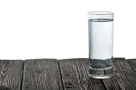 Single glass of water on wooden table