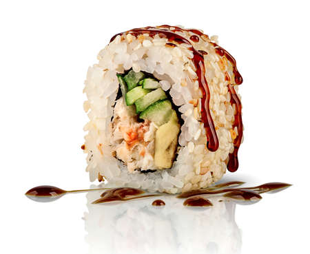 Closeup sushi roll california 写真素材