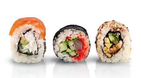 Various sushi rolls in a row 写真素材