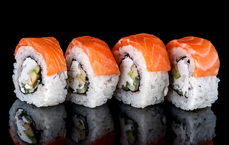 Sushi roll Philadelphia in row rotated