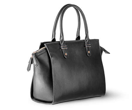 Ladies black leather bag rotated