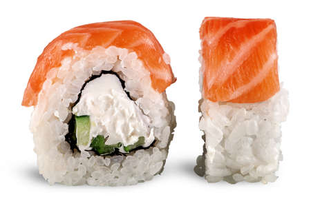Two pieces of sushi roll of Philadelphia 写真素材