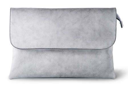In front elegant gray female clutch bag