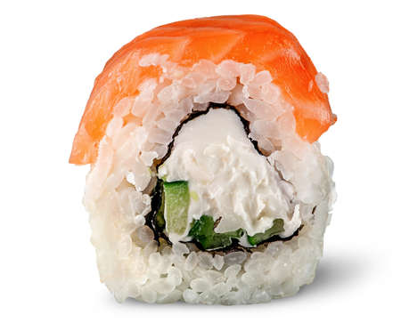 Single piece of sushi roll of Philadelphia