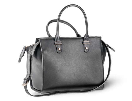 Black leather ladies handbag with strap 写真素材