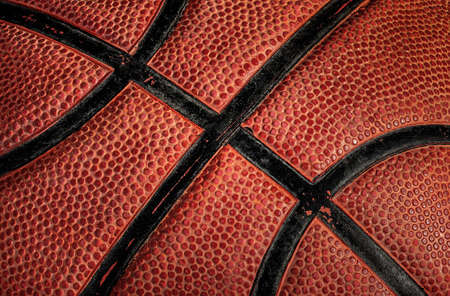 Closeup part of old basketball ball