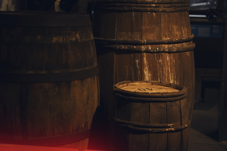 st: Vintage Barrels In Low Light Scenery, The Dock at night Stock Photo