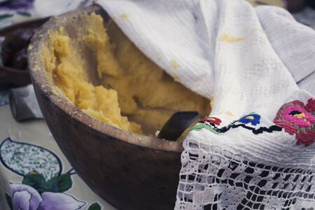 maize flour: Traditional Romanian Food made from hominy called polenta
