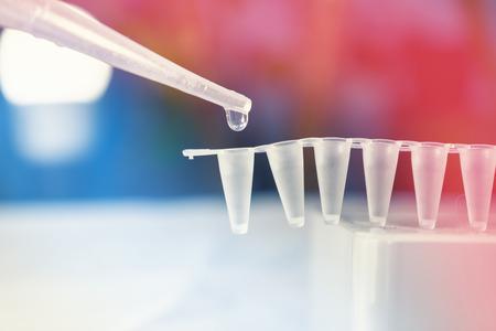 Stamcellenonderzoek met pipette en injectieflacons Stockfoto
