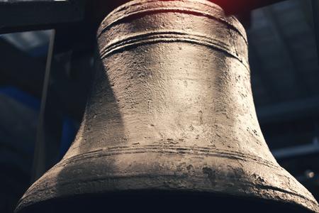 blue metallic background: Vintage Bronze Bell