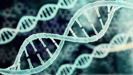 Biotechnologie bioinformatica concept van DNA en eiwit brief achtergrond, DNA en eiwit sequentie 3d render