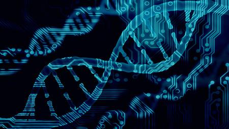 Biotecnología bioinformática concepto de ADN y proteína carta de antecedentes, el ADN y la secuencia de proteínas 3d hacer Foto de archivo