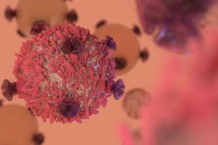 T-cel lymfocyt met receptoren om kankercellen dood te maken in kanker immunotherapie 3D render Stockfoto