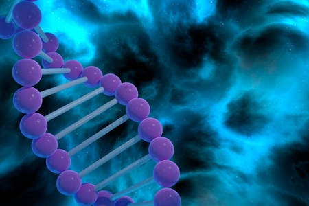 DNA strand spiral over nebula background. CRISPR prokaryotic DNA containing short repetitions of base sequences 3D render Stok Fotoğraf