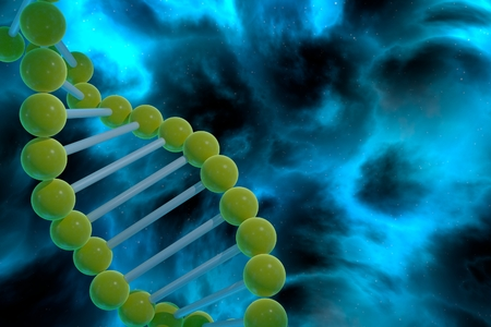 DNA strand spiral over nebula background. CRISPR prokaryotic DNA containing short repetitions of base sequences 3D render Stock Photo