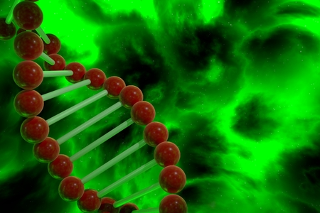 sequences: DNA strand spiral over nebula background. CRISPR prokaryotic DNA containing short repetitions of base sequences 3D render Stock Photo
