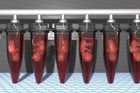 成長し、体外受精で胚の成長、将来の技術、赤ちゃんのバイアル人工胎児クローン人間バイアル、胎児試験管、赤ちゃん成長研究所 3 D イラスト 写真素材