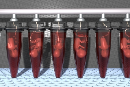 Fetuses in Vials artificial grown, in vitro fertilization of babies, embryo growth future technologies, human cloning vials, fetuses test tubes, babies grown laboratories  3D illustration Stock Photo
