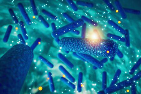 Bacteria, bacterial infection, antibiotics resistant bacteria, Escherichia E coli cell 3D rendering