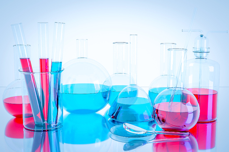 Laboratory equipment and science experiments ,Laboratory glassware containing chemical liquid, science research,science background and science concept.