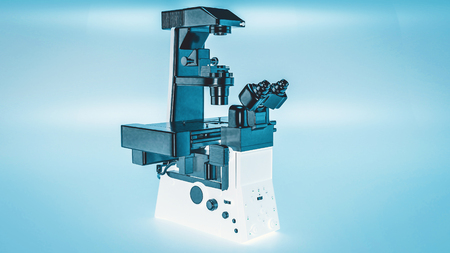 Modern microscope Inverted microscope 3d rendering