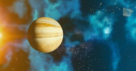 the solar system Jupiter planet concept over galactic background  Jupiter and Milky Way solar system planets astronomy concept 3d rendering