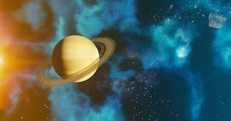 the solar system saturn planet concept over galactic background  saturn and Milky Way solar system planets astronomy concept 3d rendering