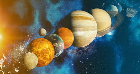 the solar system  planet concept over galactic background  and Milky Way solar system Mercury, Earth and Moon, Venus, Mars, Jupiter, Saturn, Uranus, Neptune, planets astronomy concept 3d rendering 写真素材