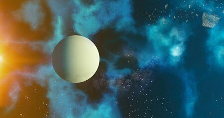 the solar system Uranus planet concept over galactic background  Uranus and Milky Way solar system planets astronomy concept 3d rendering 写真素材