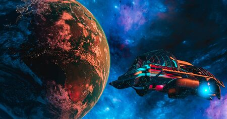 Spaceship and Earth with galaxy background  UFO concept of alien spaceship planet Earth maps by NASA 3d rendering 写真素材