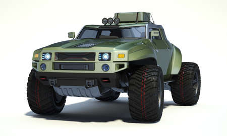 3D rendering of a brand-less generic concept off-road car in studio environment