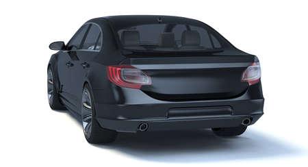 3D rendering of a brand-less generic concept car in studio environment 免版税图像