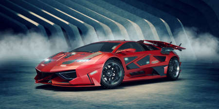 3D rendering of a brand-less generic concept car Archivio Fotografico