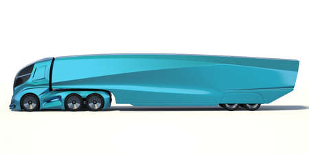 3D rendering of a brand-less generic concept truck. Electric autonomous truck on white background Banque d'images