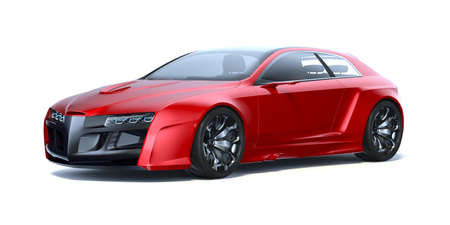 3D rendering of a brand-less generic concept car on white