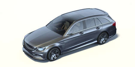 3D rendering of a brand-less generic concept car in studio environment