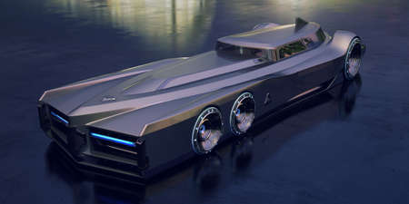 3D rendering of a brand-less generic concept car Banque d'images