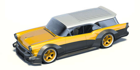 3D rendering of a brand-less generic car in studio environment Stock Photo