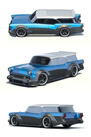 3D rendering of a brand-less generic car in studio environment Archivio Fotografico