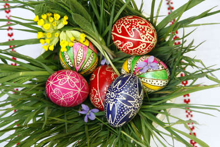 Romanian Painted Easter Eggs In Green Grass photo
