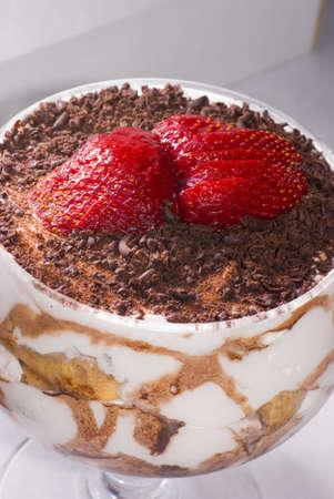 Close up Tiramisu dessert with strawberry photo
