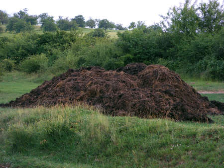 a compost pile in the middle of the field in mountains photo