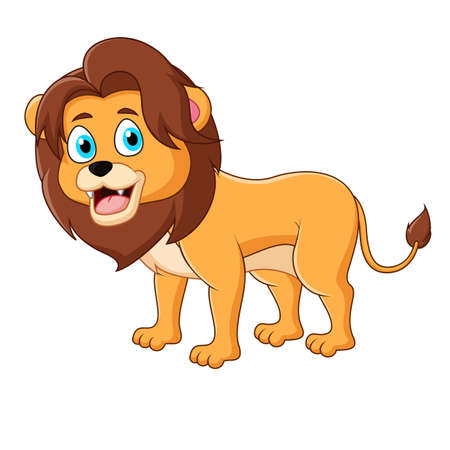 Cute lion standing isolated on a white background
