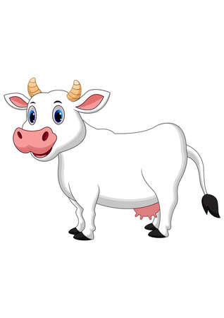 Cute white cow cartoon Illustration