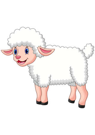 Cartoon happy sheep posing isolated on white background