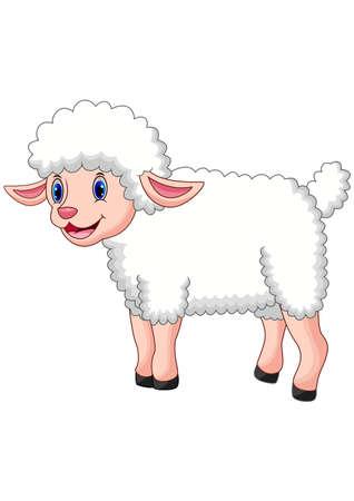 Kreskówka szczęśliwa owca pozuje na białym tle