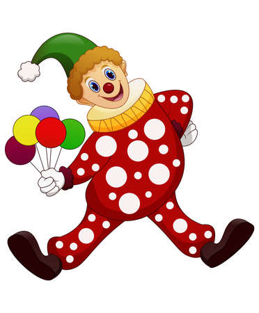 The funny clown holding balloons Illustration