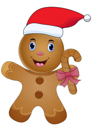 Cartoon Gingerbread Man with Santa Hat Stock Illustratie