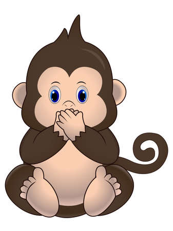 illustration, Cute little monkey sits and closes his mouth