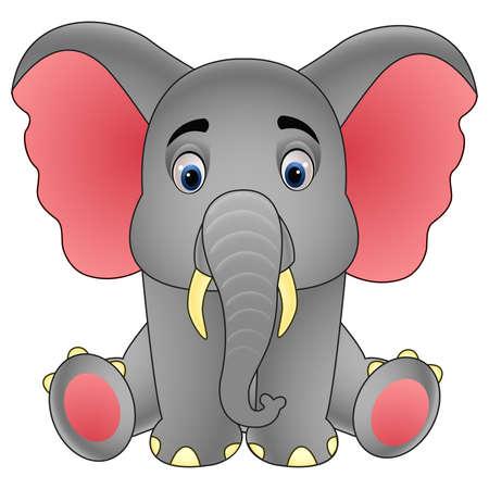 Cute baby elephant sitting isolated on white background Illustration